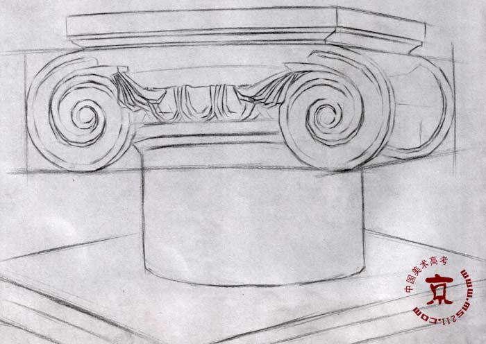 柱头石膏像写生步骤(半侧)