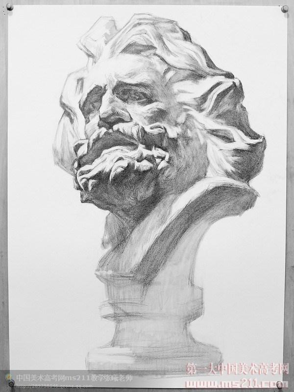 com网站老师原创--素描石膏像--马赛步骤图
