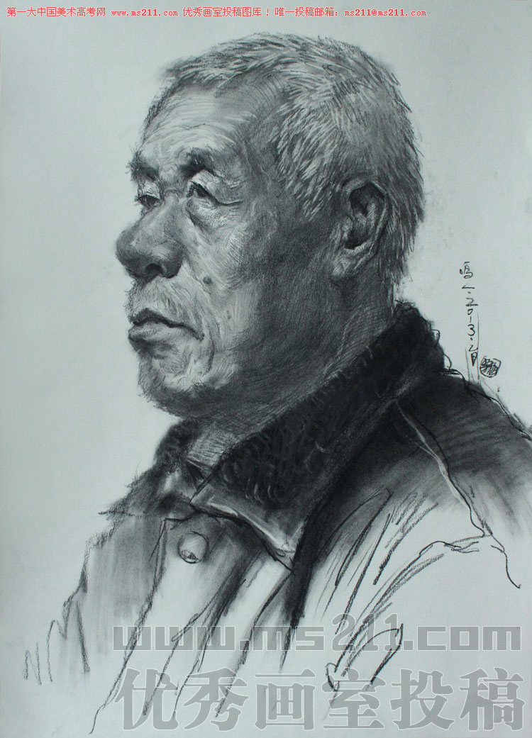陕西西安鸣一画室美术高考素描头像投稿作品