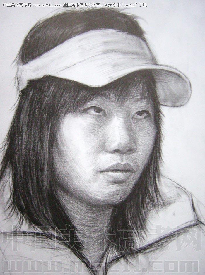 侧面女孩素描头像