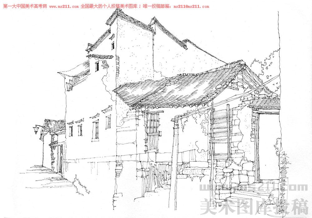 中国美术学院继续教育学院环境艺术设计教师,李彤洲,风景速写美术