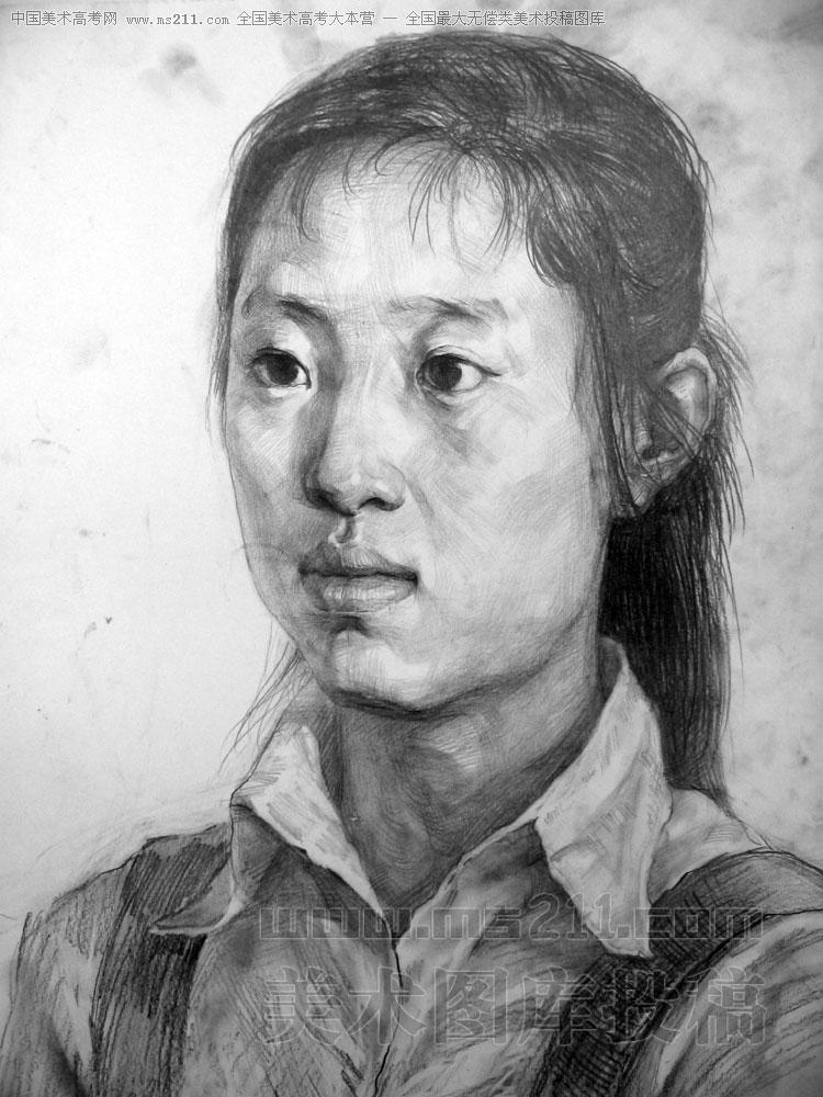 保定美术中学,陈晓海,素描头像美术高考投稿作品2008111104图片