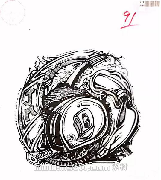 15年四川美术学院优秀美术试卷 设计专业黑白装饰画 03