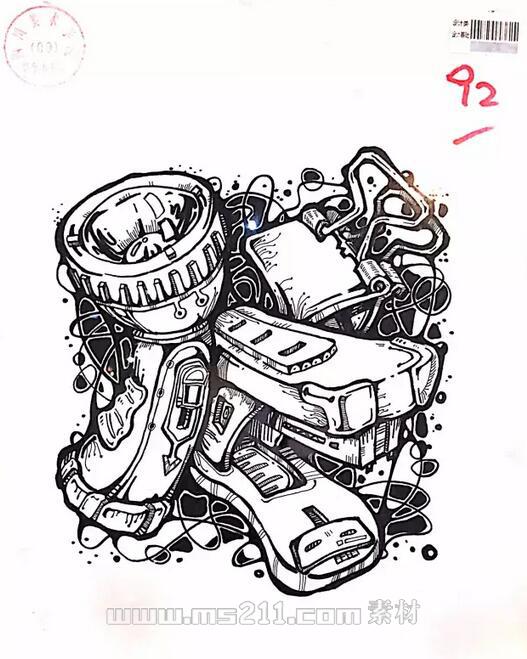 15年四川美术学院优秀美术试卷 设计专业黑白装饰画 06