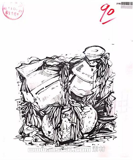15年四川美术学院优秀美术试卷 设计专业黑白装饰画 10