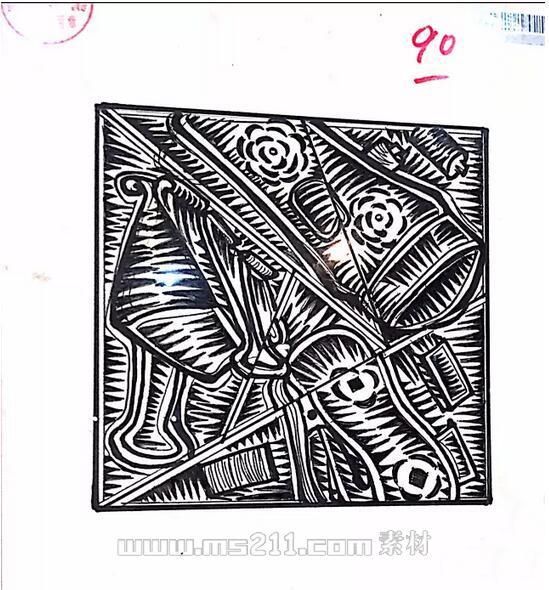 15年四川美术学院优秀美术试卷 设计专业黑白装饰画 12