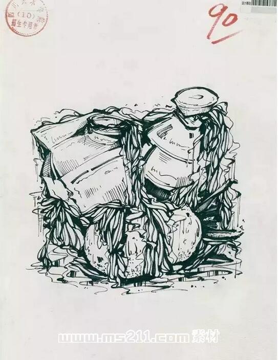 15年四川美术学院优秀美术试卷 设计专业黑白装饰画 18