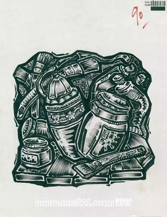 15年四川美术学院优秀美术试卷 设计专业黑白装饰画 26